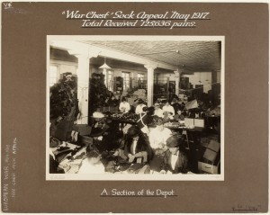 """War Chest"" Sock Appeal, May 1917 : 3 photos of workers handling goods by G. A. Hills, State Library of New South Wales, digital order number a6136003"