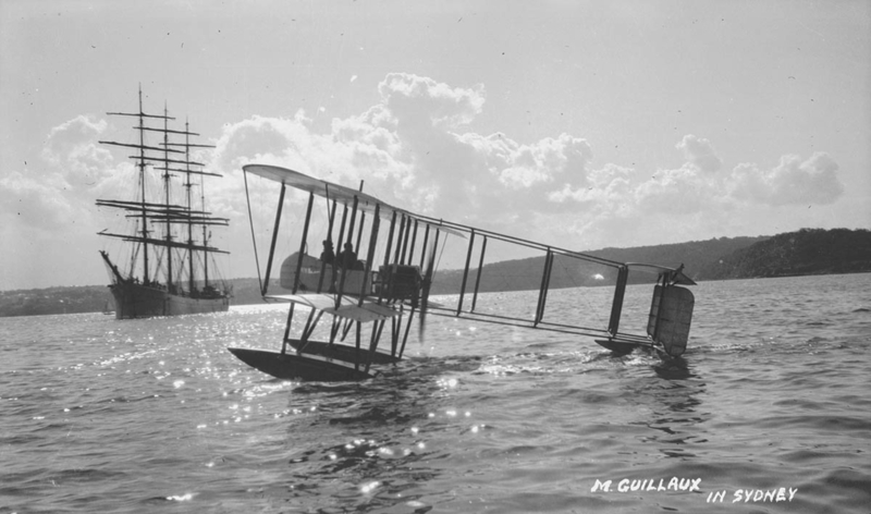 Sam Hood, M. Guillaux in Sydney (Lebbeus Hordern's seaplane), State Library of NSW, digital order no a128591
