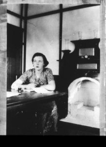 Ron Maslin, woman writing at Condobolin, State Library of NSW, bcp_02914